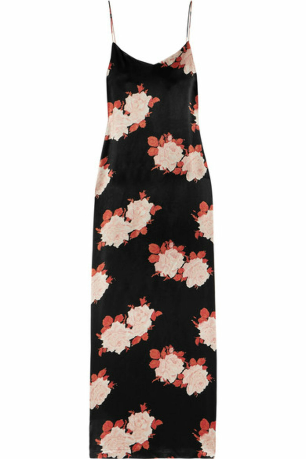 Kjole fra Ganni |1600,-| https://www.net-a-porter.com/no/en/product/884255/ganni/floral-print-satin-dress