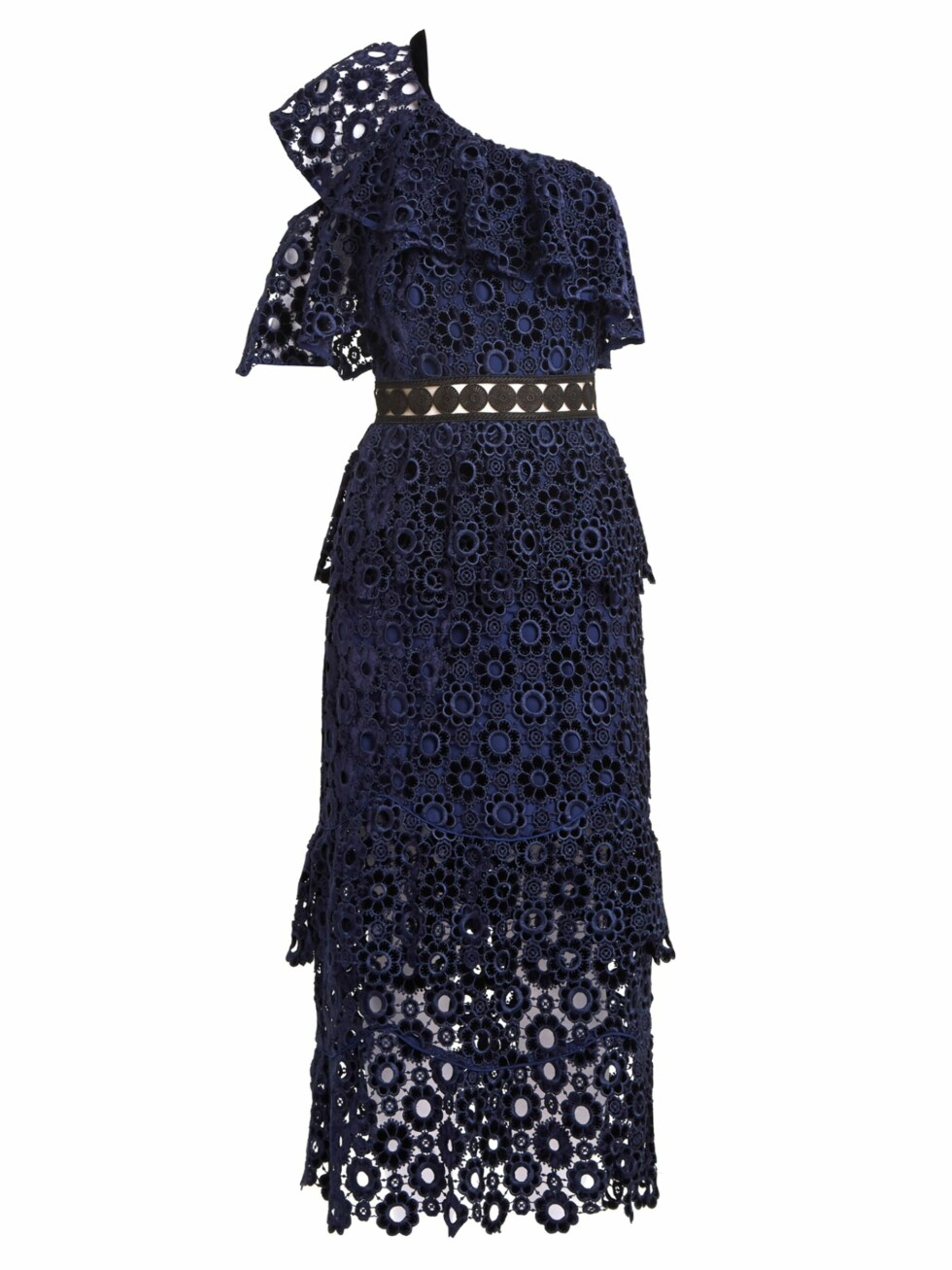 Kjole fra Self-Portrait |2715,-| https://www.matchesfashion.com/intl/products/Self-portrait-One-shoulder-tiered-floral-lace-midi-dress-1168307