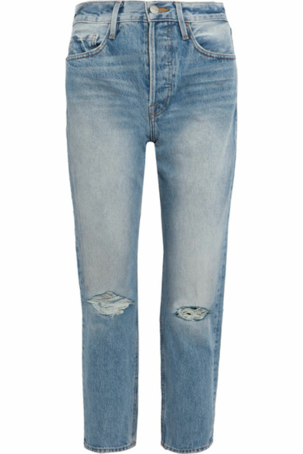 Jeans fra Frame |2830,-| https://www.net-a-porter.com/no/en/product/892097/frame/rigid-re-release-le-original-distressed-high-rise-straight-leg-jeans
