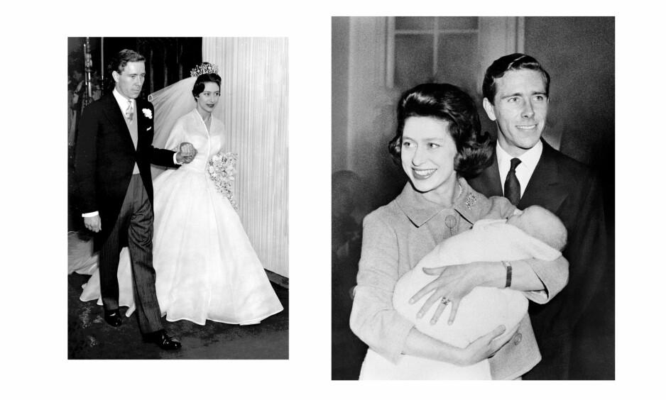 PRINSESSE MARGARET: Våren 1960 giftet prinsesse Margaret seg med fotografen Antony Armstrong-Jones. Han ble dermed den første borgerlige til å gifte seg med et medlem av den britiske kongefamilien på 400 år. Her med sønnen David som ble født i november 1961. Foto: NTB Scanpix