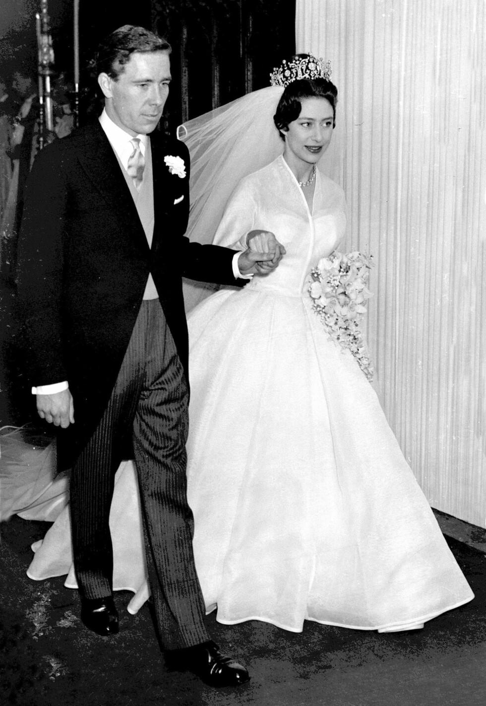 BRYLLUP: Den 6. mai 1960 sto bryllupet mellom prinsesse Margaret og Antony Armstrong-Jones i Westminster Abbey. Foto: NTB Scanpix
