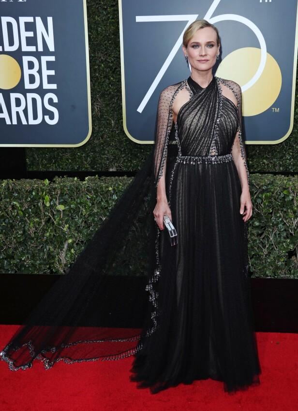 Diane Krugers glamorøse kjole var en av kveldens fineste. Foto: NTB Scanpix