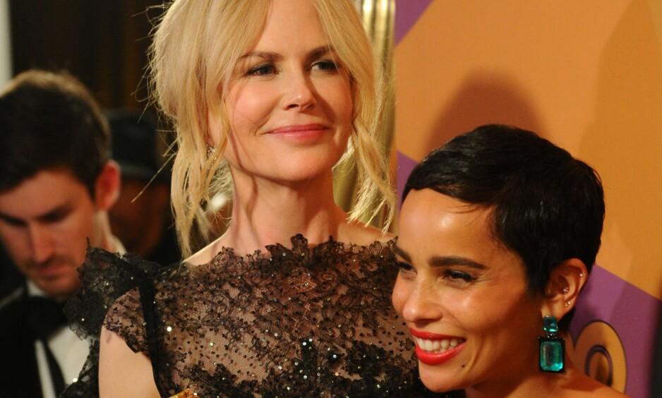 GOLDEN GLOBES: Kvinnene i Hollywood gikk i sort på The Golden Globe for å vise sin avsky overfor seksuell trakassering. Avbildet er Nicole Kidman og Zoë Kravitz. FOTO: NTB Scanpix