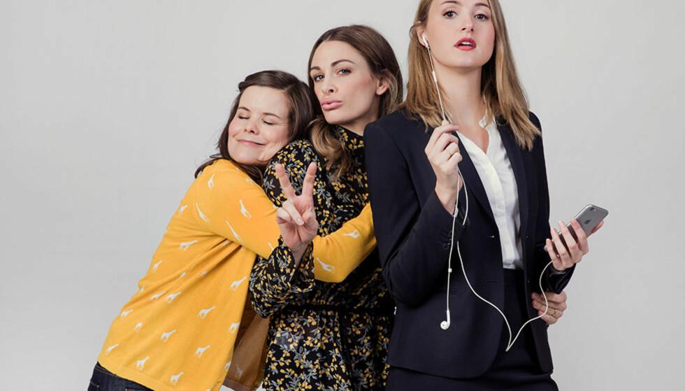 «NESTEN VOKSEN»: «Nesten Voksen» følger livet til de tre venninnene Ida (Kjersti Tveterås) til venstre, Camilla (Jenny Skavlan) og Siri (Renate Reinsve). Og det store spørsmålet er; når er det egentlig på tide å bli voksen? FOTO: NRK