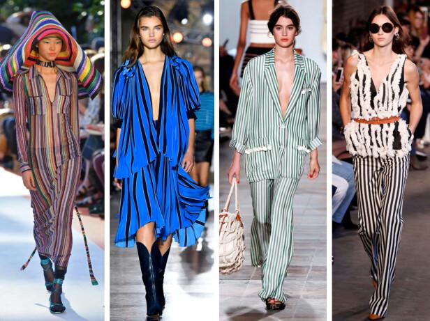<strong>FRA CATWALKEN:</strong> Missoni, Givenchy, Sonia Rykiel og Altuzzara viste alle striper da de presenterte sine kolleksjoner for våren 2018. Foto: Scanpix