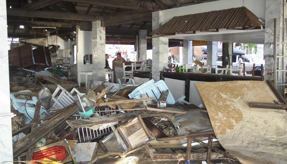 UGJENKJENNELIG: Restauranten hvor Trine spiste frokost hver morgen, slik den så ut etter tsunamiens herjinger. FOTO: Privat