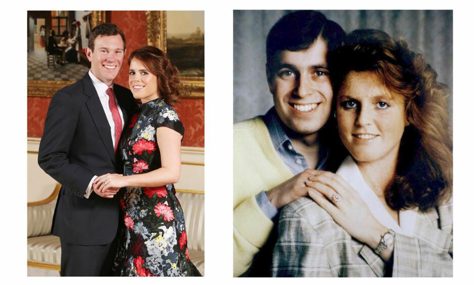 PRINSESSE EUGENIE: I slutten av januar ble det kjent at prinsesse Eugenie, dronning Elizabeths barnebarn, gifter seg med kjæresten Jack Brooksbank. Forlovelsesringen til prinsesse Eugenie er en tro kopi av forlovelsesringen som moren Sarah Ferguson fikk av prins Andrew i 1986. Foto: NTB Scanpix
