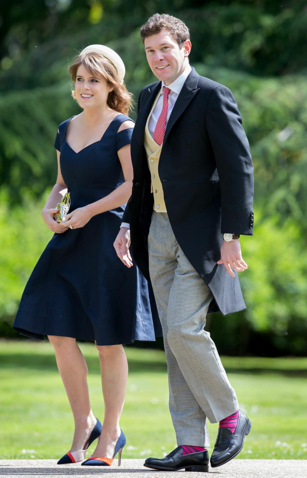 I BRyLLUP: Dette bildet ble tatt av paret da de to deltok i bryllupet til Pippa Middleton, hertuginne Kates lillesøster. Eugenie og Pippa er svært gode venninner. Foto: NTB Scanpiz