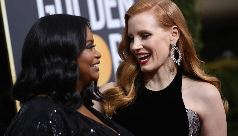 LØNNSFORHANDLING: Jessica Chastain (40) fikset fem ganger høyere lønn til seg selv og Octavia Spencer (47), venninne og motspiller. FOTO: NTB Scanpix