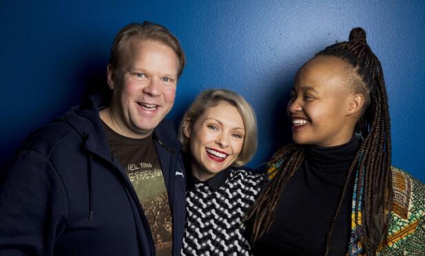 FIN TRIO: Anders Baasmo Christiansen, MyAnna Buring og Nosizwe Baqwa spiller i den nye NRK-serien «En natt». De har også fått en god tone på privaten. Foto: NTB Scanpix