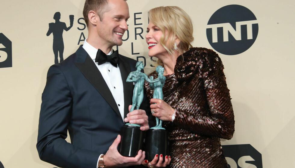 Alexander Skarsgård (41) og Nicole Kidman (50) vant priser for rollene som ekteparet Perry og Celeste på Screen Actors Guild Awards i år. Foto: NTB Scanpix