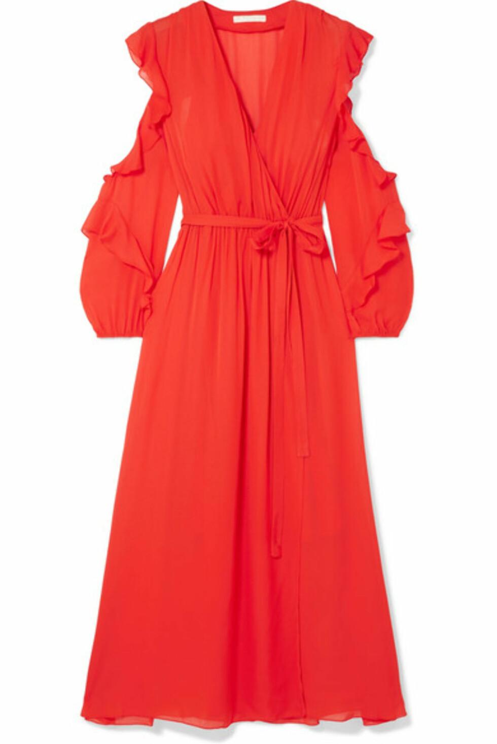 Kjole fra Maje |3830,-| https://www.net-a-porter.com/no/en/product/1047794/maje/ruffled-wrap-effect-chiffon-midi-dress