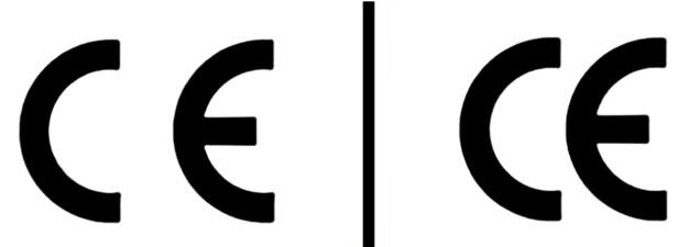 EKTE OG FALSK CE-MERKING: Merkingen til venstre er den europeiske mens den til høyre hvor bokstavene står tettere er den kinesiske. Foto: Miljødirektoratet
