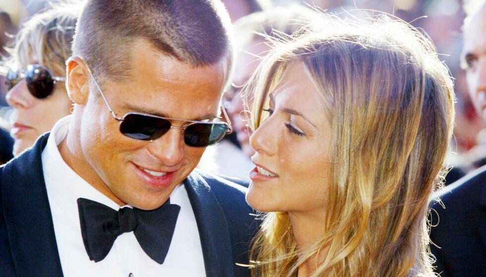 DEN GANG DA: Jennifer Aniston og Brad Pitt møttes i 1998 da de ble satt opp på en blind date. Bryllupet sto i 2000 og skilsmissen var et faktum i 2005. Nå drømmer fansen om at de to skal finne tilbake til hverandre igjen. Foto: NTB Scanpix