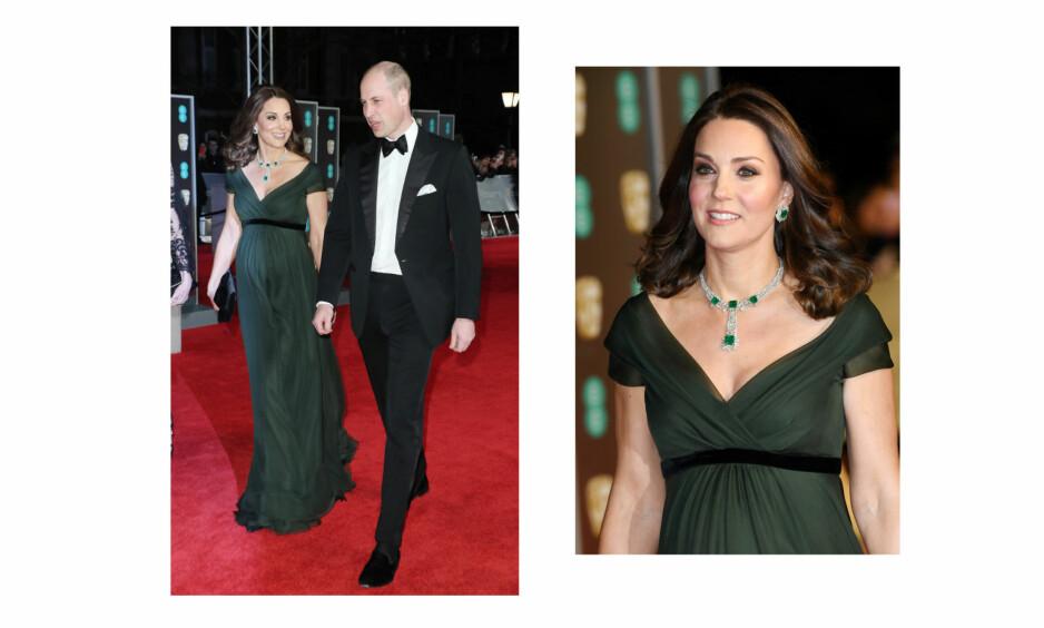HERTUGINNE KATE BAFTA: 18. februar var det duket for glitter og glamour da hertuginne Kate og prins William deltok på BAFTA-utdelingen i Royal Albert Hall i London. I motsetning til de fleste andre stilte hertuginnen i en kjole med farge under tilstelningen. Foto: NTB Scanpix