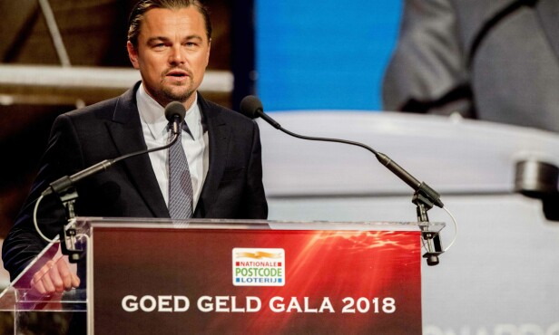 MILJØAKTIVIST: Her snakker Leonardo DiCaprio på the Goed Geld Gala veldedighetsevent på The Theatre Carre i Amsterdam 15. februar. FOTO: NTB Scanpix