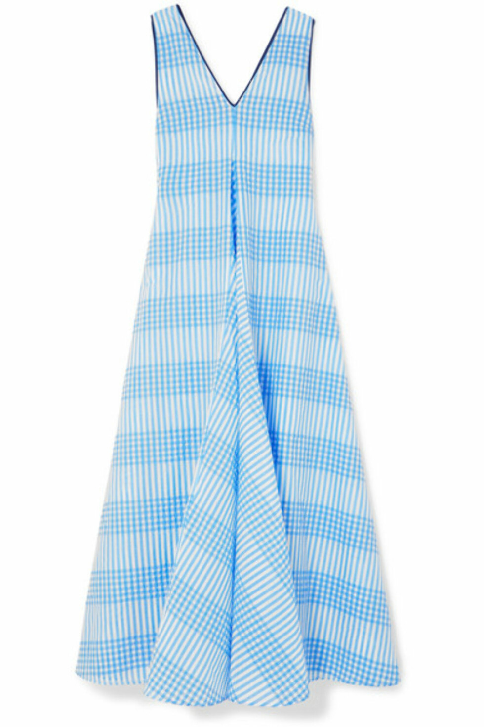 Kjole fra Ganni  2320,-  https://www.net-a-porter.com/no/en/product/1029836/ganni/charron-checked-cotton-blend-seersucker-maxi-dress