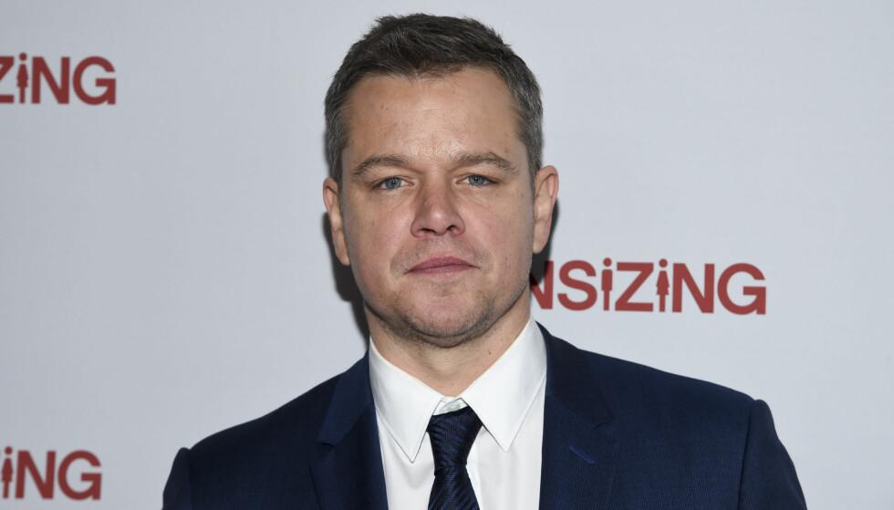 RENT VANN: Her er Matt Damon på premieren av filmen Downsizing i New York. Visste du at store deler av denne filmen ble spilt inn i Norge? FOTO: NTB Scanpix
