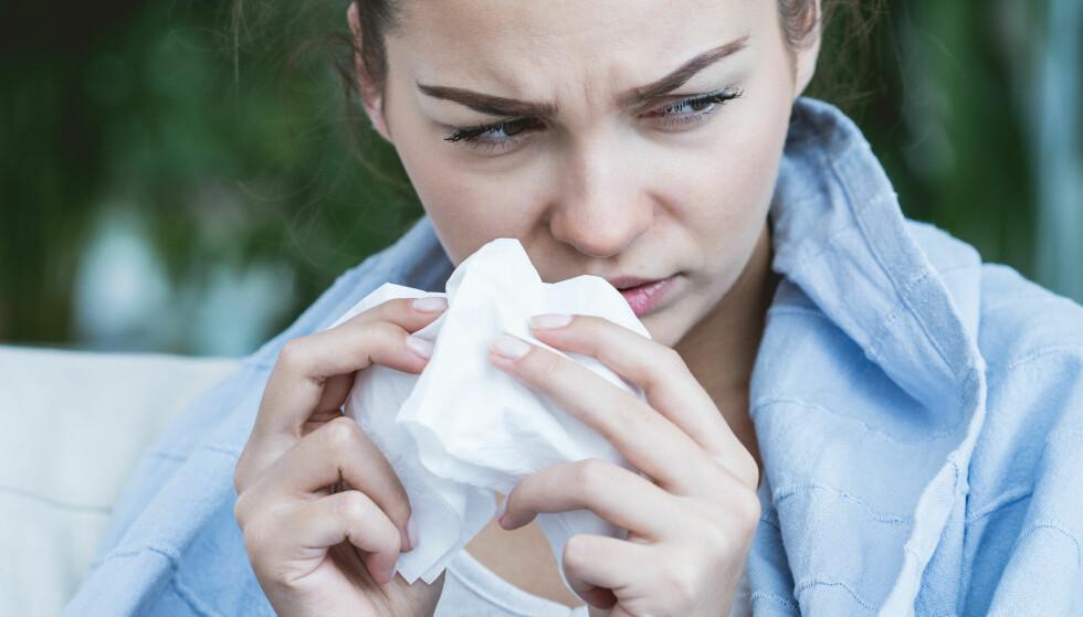 SNØRR: Å rense opp i nesa når du er som tettest, er viktig for å unngå øre- og bihulebetennelse. FOTO: NTB Scanpix