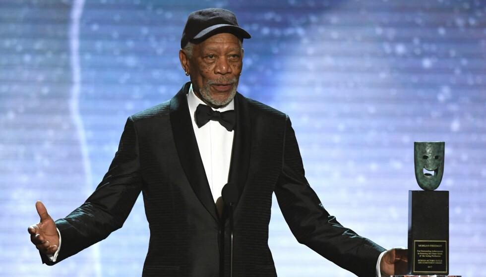 MILJØPROBLEMER: Her er Morgan Freeman på scenen under Screen Actors Guild Awards hvor han mottok prisen Life Achievement Award. FOTO: NTB Scanpix