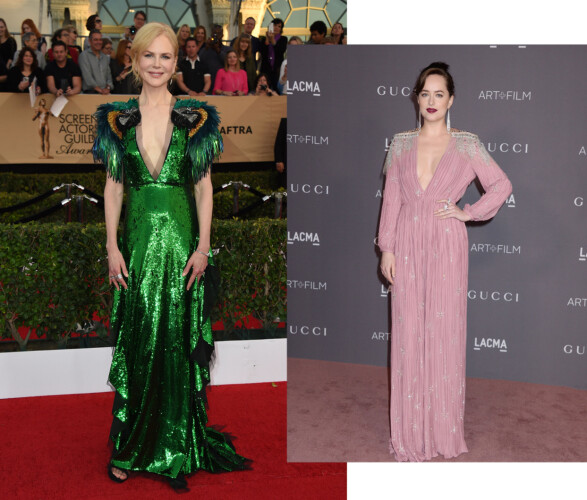 Nicole Kidman (t.v.) og Dakota Johnson (t.h.) ikledd Gucci. Foto: Scanpix