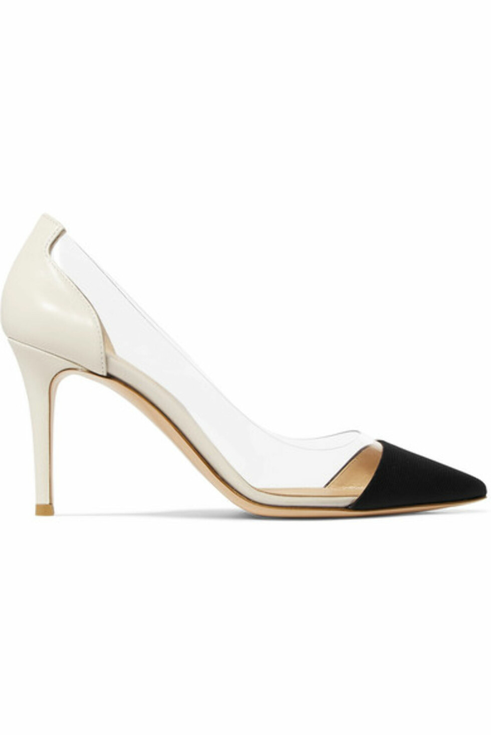 Sko fra Gianvito Rossi |5800,-| https://www.net-a-porter.com/no/en/product/992556/Gianvito_Rossi/plexi-85-faille-leather-and-pvc-pumps