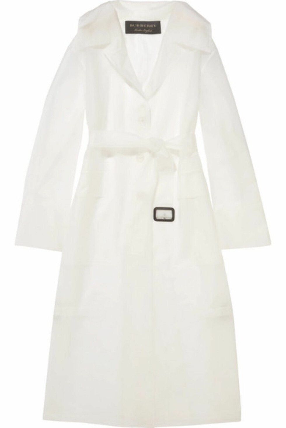 Kåpe fra Burberry |18000,-| https://www.net-a-porter.com/no/en/product/992870/Burberry/belted-rubberized-pu-trench-coat