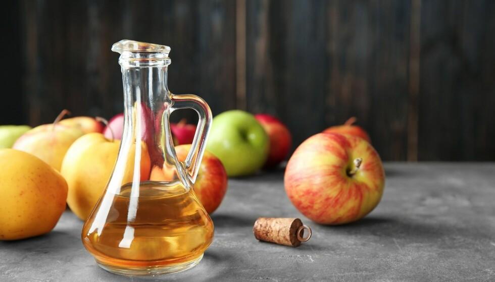 EPLESIDEREDDIK: Med sin svært syrlige smak gjør nok eplesidereddik seg bedre i en dressing enn alene. Foto: Scanpix.