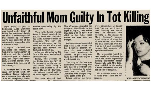 <strong>FAKSIMILE:</strong> Alice Crimmins ble ikke bare dømt av politietterforskerne og i retten, men også av pressen. Denne saken sto på trykk i Associated Press da den første dommen kom i 1968. Foto: Skjermdump fra whaleoil.co.nz