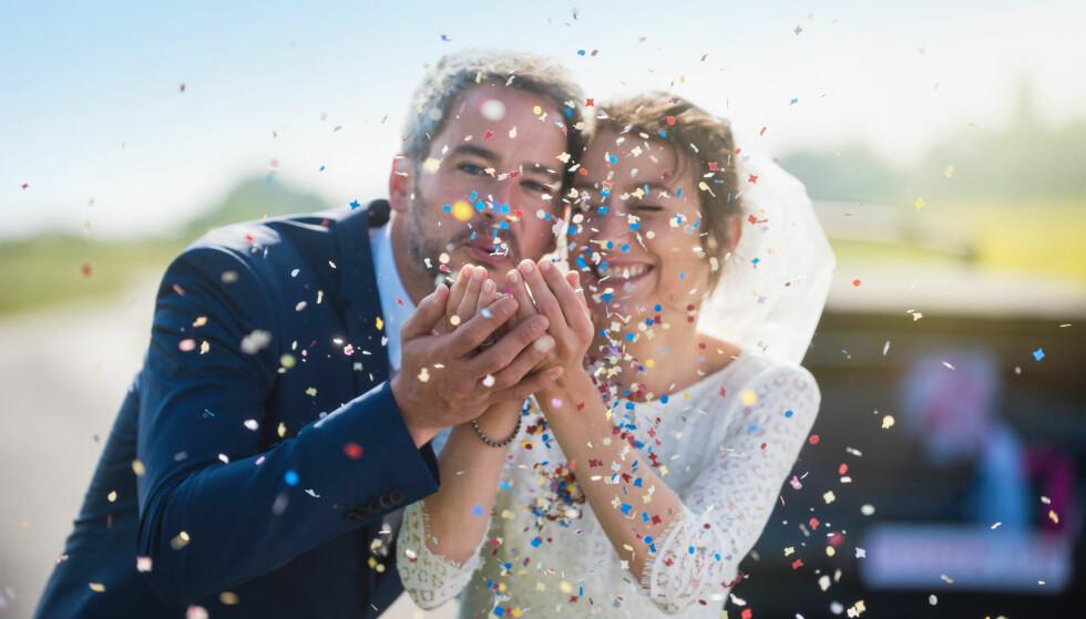BRYLLUP: Pinterest avslører hvilke trender som regjerer når det kommer til årets bryllup - hjemmelaget konfetti er en av dem. FOTO: NTB Scanpix