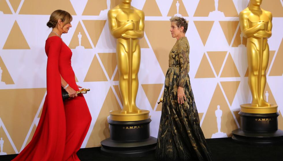 OSCAR 2018: Allison Janney (t.v.) vant prisen for beste kvinnelige birolle, mens Frances McDormand (t.h.) ble årets beste kvinnelige skuespiller. Foto: Scanpix