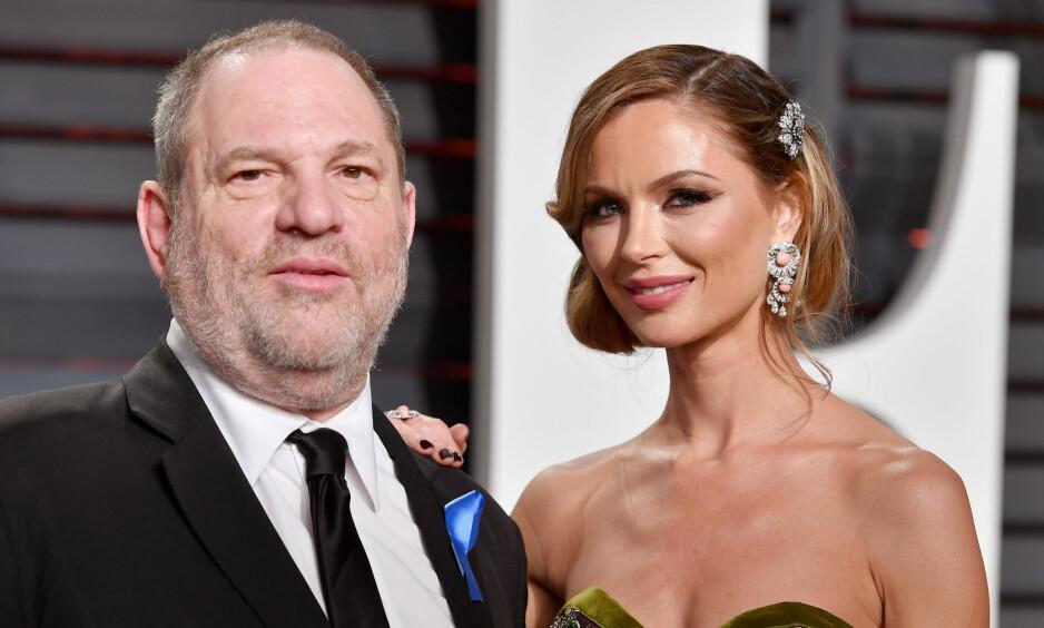 SKILTE SEG: Én måned etter at Harvey Weinstein (t.v.) ble anklaget for seksuell trakassering, forlot Georgina Chapman (t.h.) ektemannen gjennom 11 år. FOTO: NTB Scanpix