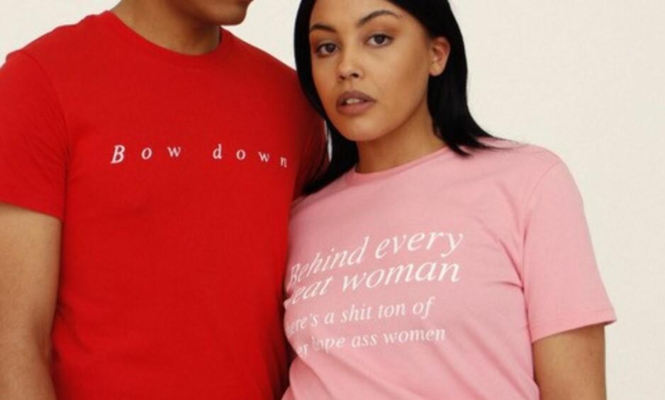 KVINNEDAGEN: Flere merker har laget egne t-skjorter for å støtte kvinnedagen. Foto: Weekday