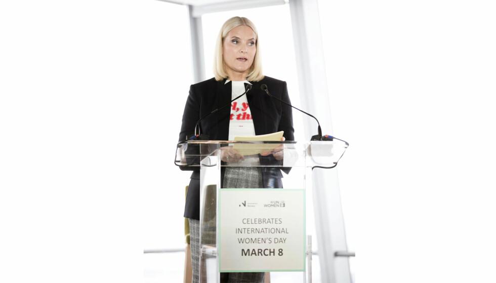 KRONPRINSESSE METTE-MARIT: På kvinnedagen deltok kronprinsesse Mette-Marit på et globalt kvinnearrangement i regi av Innovasjon Norge, UN Women og SAP. Foto: Pontus Höök / NTB scanpix