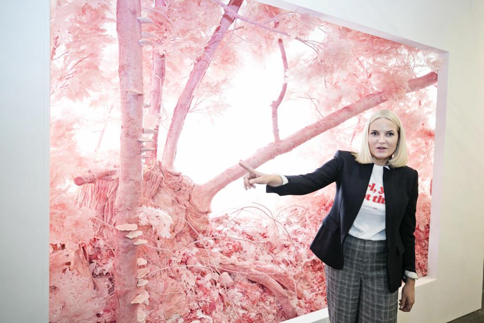 KUNSTINTERESSERT: Før arrangementet hos SAP deltok kronprinsesse Mette-Marit på kunstmessen på The Armory i New York. Her står hun foran den amerikanske kunstneren Patrick Jacobs' verk «Pink Forest». Foto: Pontus Höök / NTB scanpix