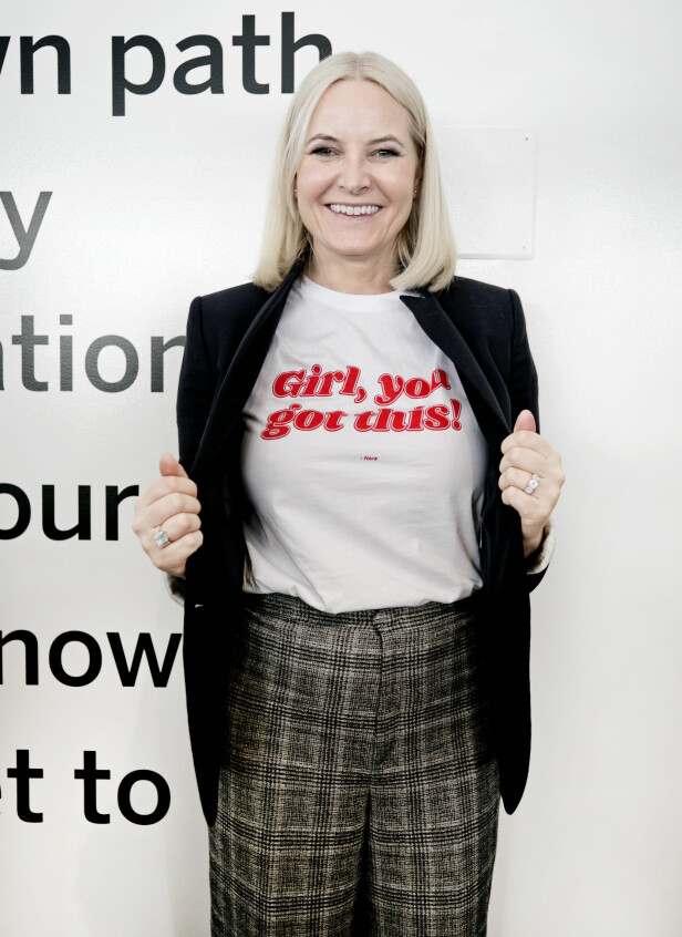 KLART BUDSKAP: Til KK fortalte kronprinsesse Mette-Marit at hun ved en tilfeldighet så t-skjorten med det viktige budskapet «Girl, You Got This!» som er til inntekt for UN Women. På kvinnedagen bar kronprinsessen t-skjorten under et arrangement i regi av Innovasjon Norge i New York. Foto: Pontus Höök / NTB scanpix