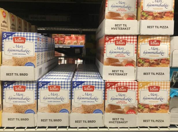 ULIKE TYPER GJÆR: I butikkene finner du gjær som skal brukes for å bake brød, hvetebakst og pizza. FOTO: Anette Snarby