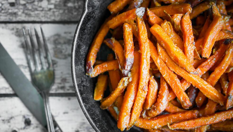 SØTPOTET: Visste du at søtpotet egentlig er en rotgrønnsak? Den dyrkes hovedsaklig i USA og importeres til Norge. FOTO: NTB Scanpix