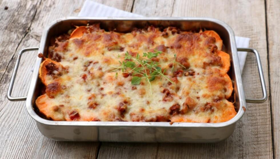 LASAGNE: I denne oppskriften bruker du søtpotet istedenfor pasta i lasagnen. Oppskriften er laget av matbloggeren Linda Marie Stuhaug som, driver bloggen lindastuhaug.no FOTO: Privat