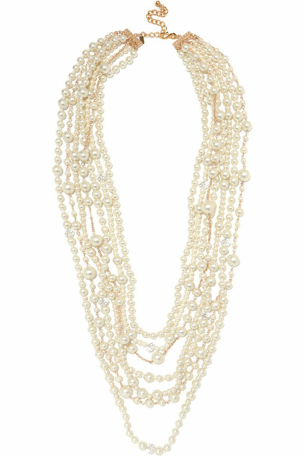 Kjede fra Kenneth Jay Lane |2500,-| https://www.net-a-porter.com/no/en/product/999816/Kenneth_Jay_Lane/gold-plated-crystal-and-faux-pearl-necklace