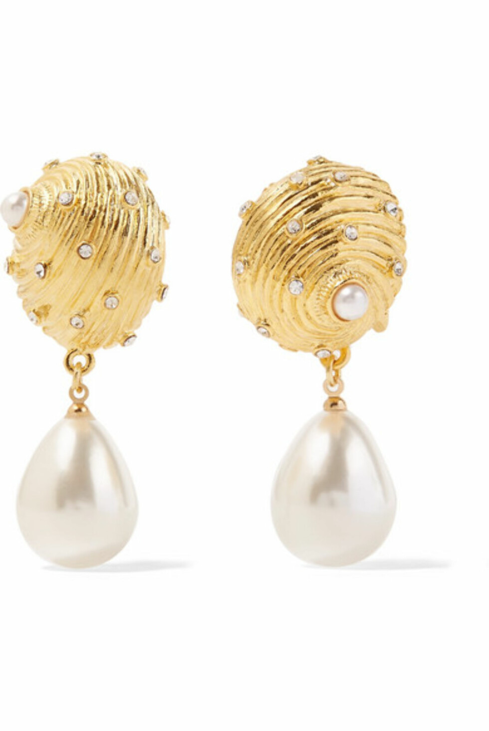 Øredobber fra Kenneth Jay Lane |980,-| https://www.net-a-porter.com/no/en/product/1051467/Kenneth_Jay_Lane/gold-plated-crystal-and-faux-pearl-clip-earrings
