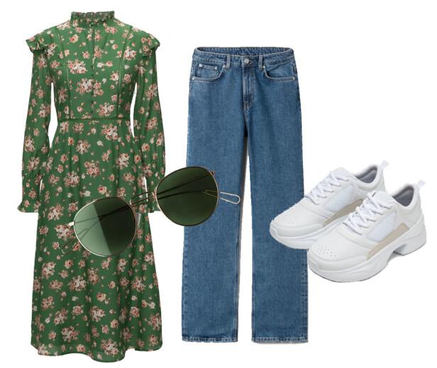 Kjole fra FWSS, kr 3399. Solbriller fra Weekday, kr 150. Jeans fra Weekday, kr 500. Sko fra Zara, kr 549. Foto: Produsentene