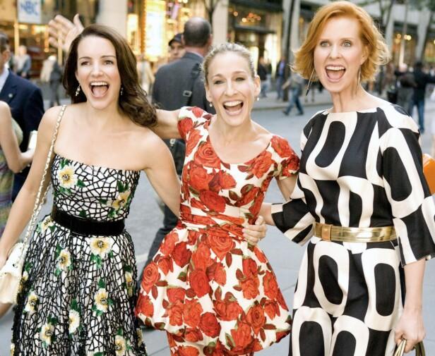 Kristin Davis, Sarah Jessica Parker og Cynthia Nixon fra Sex og singelliv. Foto: Scanpix