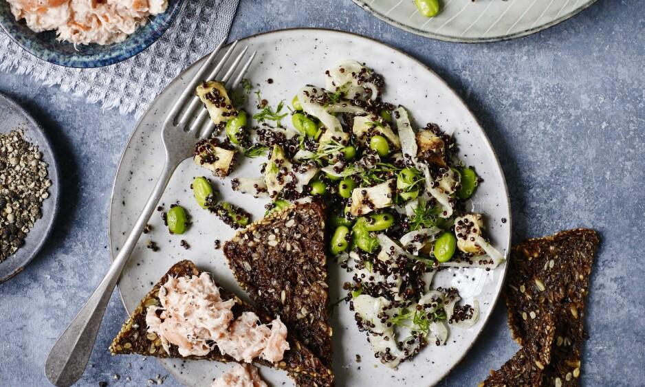 LAKS: Prøv en laksemousse som er laget med både varmrøkt laks og røkelaks. Server sprøtt rugbrød og en frisk salat med god grønnsaker til. FOTO: Nina Malling