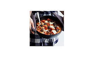 One-pot-pasta caprese med kjøttboller