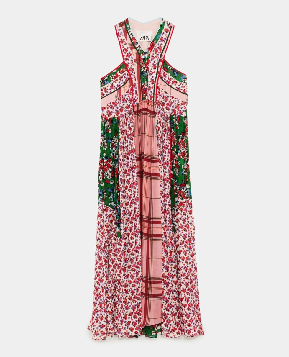 Kjole fra Zara |1295,-| https://www.zara.com/no/no/kombinert-kjole-med-lappem%C3%B8nster-p02511718.html?v1=6028523&v2=719020