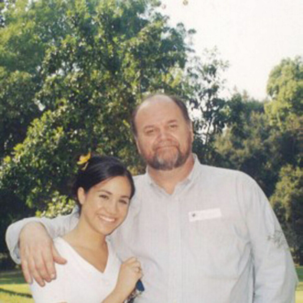 <strong>MEGHANS FAR:</strong> Meghan Markle med sin far Thomas Markle. De har et anstrengt forhold, og det er usikkert om han kommer i bryllupet. FOTO: NTB Scanpix