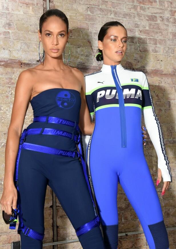 <strong>FENTY X PUMA:</strong> Dette er navnet på kolleksjonen Rihanna har i samarbeid med Puma, som her vises frem av supermodellene Joan Smalls og Adriana Lima. Foto: Scanpix