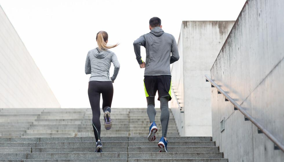 TRAPPELØP: Trappeløp er mer skånsomt for kroppen da du ikke trenger å løpe veldig fort for å komme opp i puls. Det egner seg best som anaerob intervalltrening - altså trening på høy intensitet. FOTO: NTB Scanpix