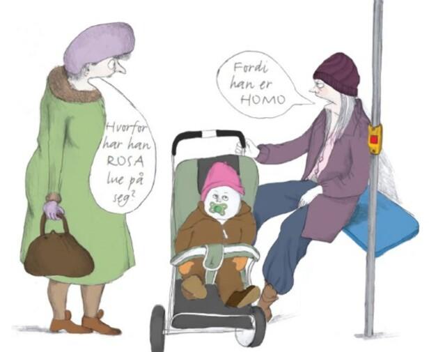 JENTE- OG GUTTEKLÆR: Barn lærer i tidlig alder at rosa er en «jentefarge». Illustration fra boken Gi barn 100 muligheter: Emili Svensson